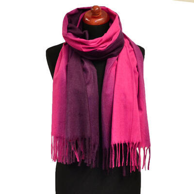 Blanket scarf - fuchsia pink and violet - 1
