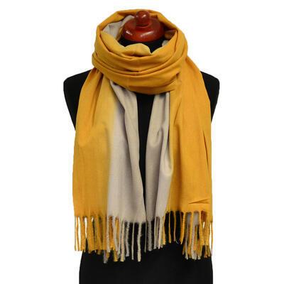 Blanket scarf - mustard yellow - 1