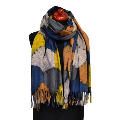 Blanket scarf - orange and blue - 1