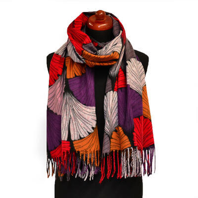 Blanket scarf - red and violet - 1