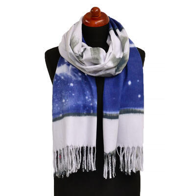 Blanket scarf - blue and light grey - 1