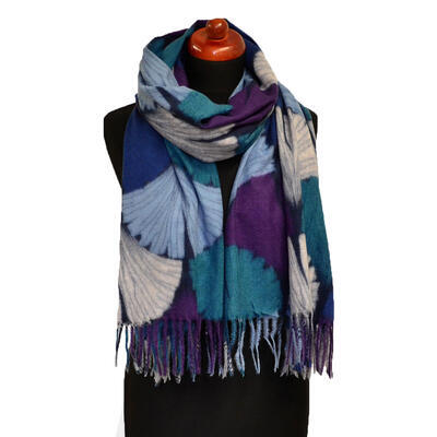 Blanket scarf - green and violet - 1