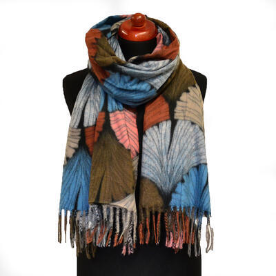 Blanket scarf - brown and blue - 1