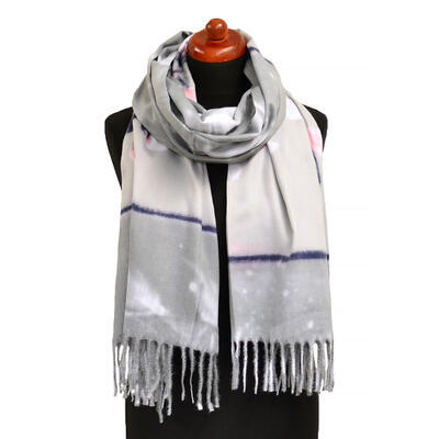 Blanket scarf - grey and white - 1