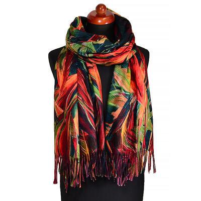 Blanket scarf - orange and green - 1