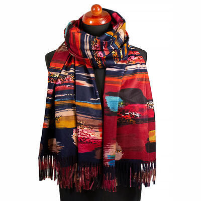 Blanket scarf - red - 1