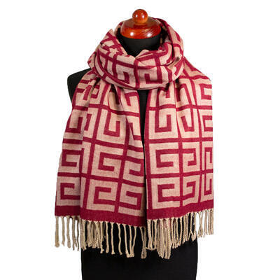 Blanket scarf - red and beige - 1