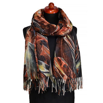 Blanket scarf - brown and green - 1