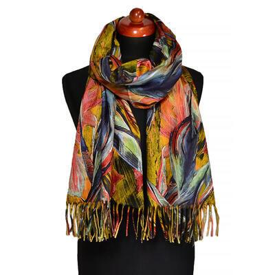 Blanket scarf - mustard yellow and orange - 1