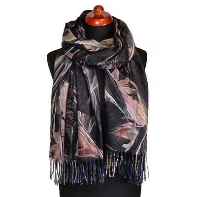 Blanket scarf - brown and pink - 1
