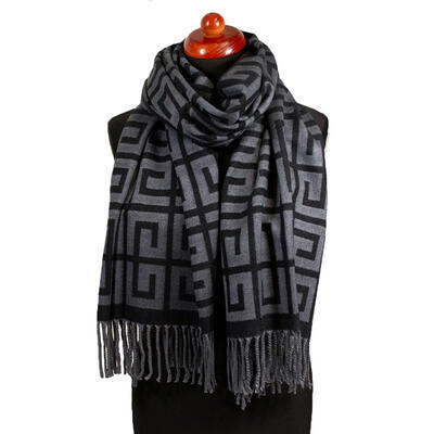 Blanket scarf - grey and black - 1