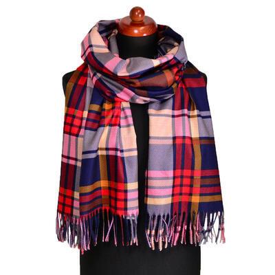 Blanket scarf - red plaid - 1