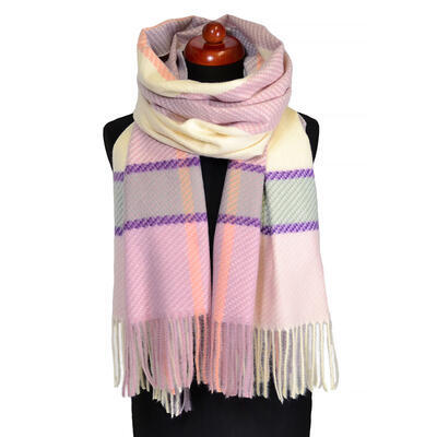 Blanket scarf - pink and beige - 1