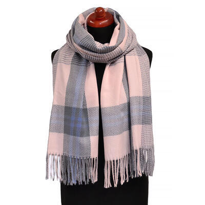 Blanket scarf - pink and grey - 1