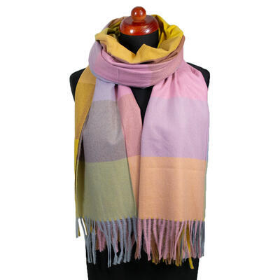 Blanket scarf - pink and brown - 1