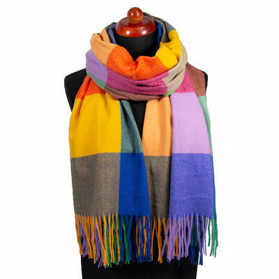 Blanket scarf - blue and yellow - 1