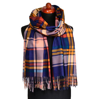 Blanket scarf - blue and orange plaid - 1