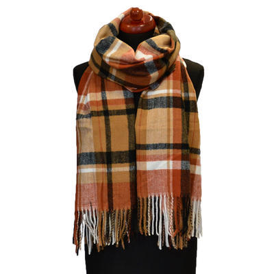 Blanket scarf - brown and black - 1