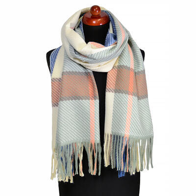 Blanket scarf - green and beige - 1