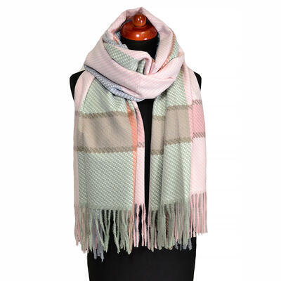 Blanket scarf - green and pink - 1