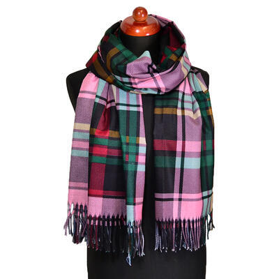 Blanket scarf - green and pink plaid - 1