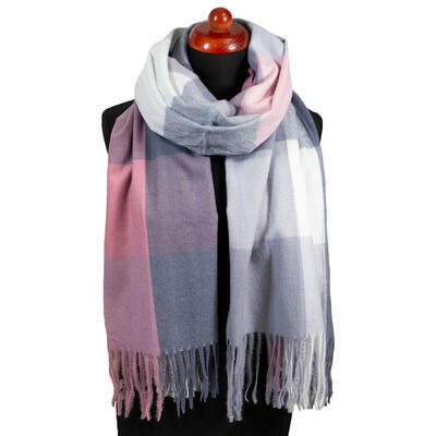 Blanket scarf - grey and pink - 1