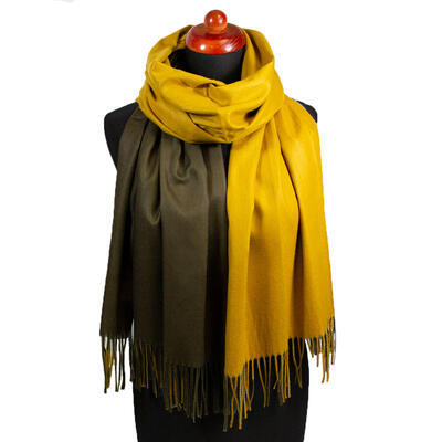 Blanket double-sided scarf - mustard yellow and brown - 1