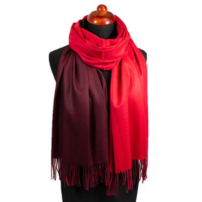 Blanket double-sided scarf - red and brown - 1