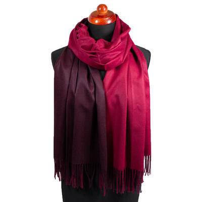 Blanket double-sided scarf - dark red and brown - 1