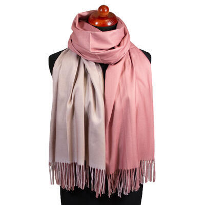 Blanket double-sided scarf - pink and beige - 1