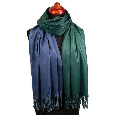Blanket double-sided scarf - blue and green - 1