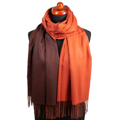 Blanket double-sided scarf - brown and orange - 1