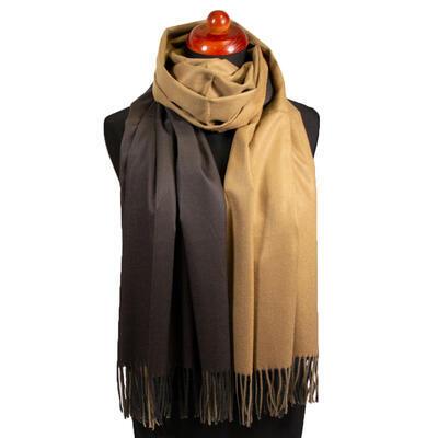 Blanket scarf - beige and brown - 1