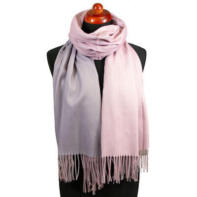 Blanket double-sided scarf - grey and pink - 1