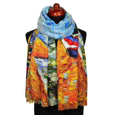 Blanket scarf bilateral - multicolor and yellow - 1