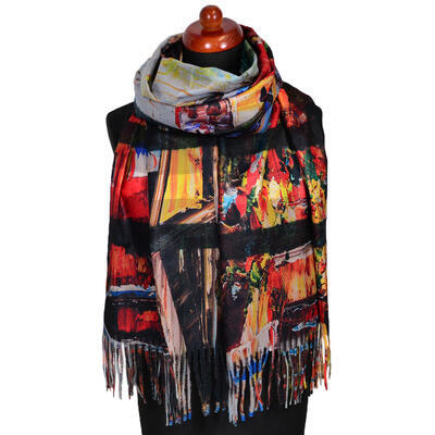 Blanket scarf bilateral - multicolor and beige - 1
