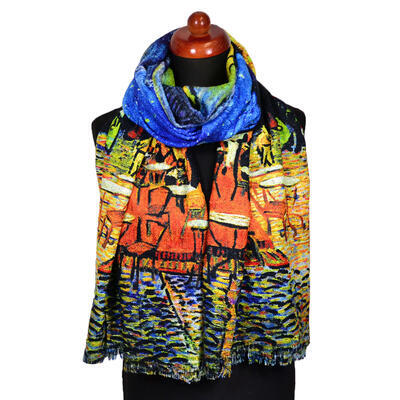 Blanket scarf bilateral - multicolor and blue - 1