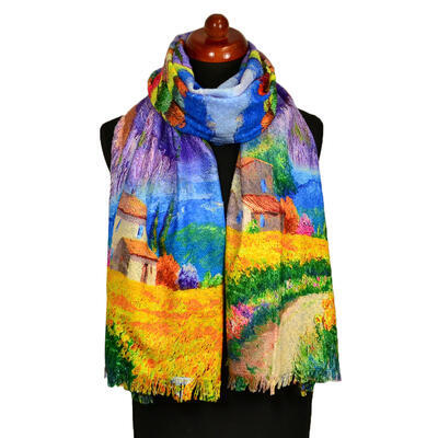 Blanket scarf bilateral - multicolor and violet - 1