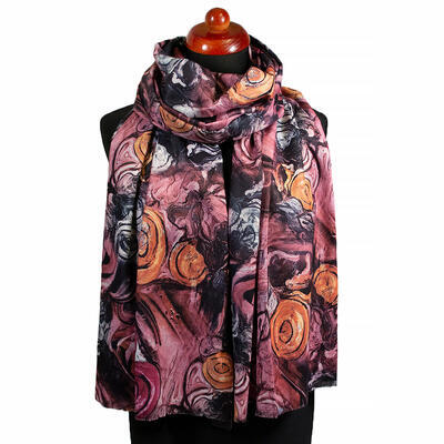 Two-sided blanket scarf - pink and brown - 1