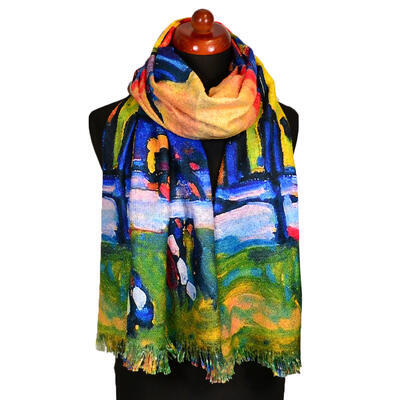 Blanket scarf bilateral - green and multicolor - 1