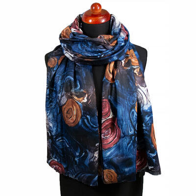 Two-sided blanket scarf - blue and brown - 1