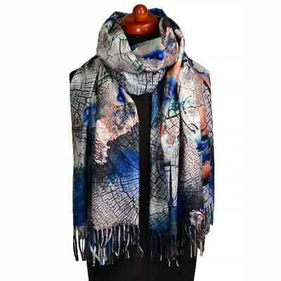 Blanket scarf bilateral - blue and grey - 1
