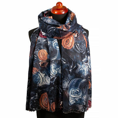 Two-sided blanket scarf - dark blue/green and brown - 1