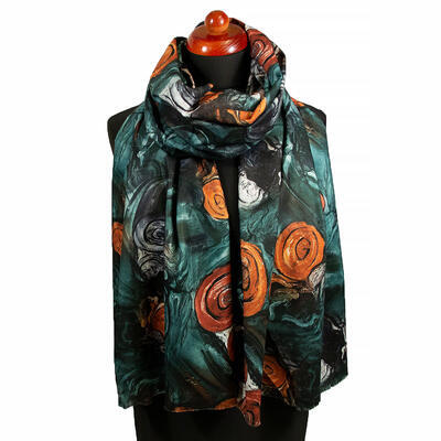 Two-sided blanket scarf - dark green and brown - 1