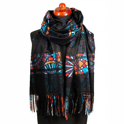 Blanket scarf bilateral - black and multicolor - 1
