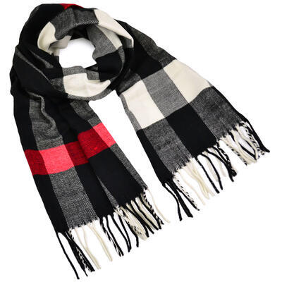 Men's warm scarf - black and white - 1