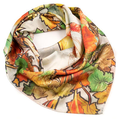 Big square scarf - white and brown/green - 1