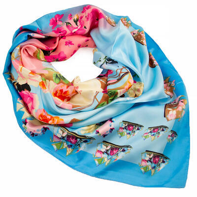 Big square scarf - blue and pink - 1