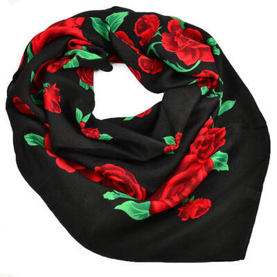 Big square scarf - black and red - 1