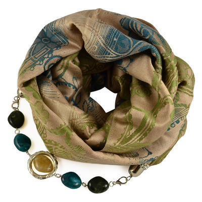 Warm bijoux scarf - light brown and green